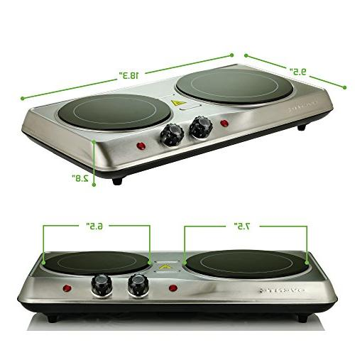 Ovente Countertop Ceramic Glass Double Plate Cooktop, Indoor Portable Stove,