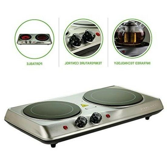 Ovente Burner, Ceramic Glass Double Plate Cooktop, and Portable 1700