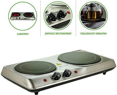 Infrared Double Burner Electric Plate Cooker 2 Ceramic Glass Burners