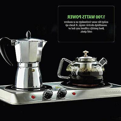 Infrared Cooktop Double Electric Hot Cooker 2 Glass