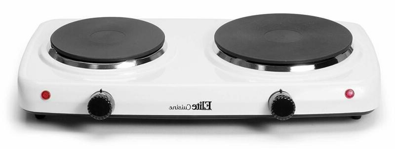 Portable Kitchen RV Electric Double Burner Hot Plate Cast Ir
