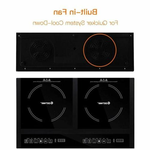 MElectrical Adjustable Temperature Double Burner Induction Display