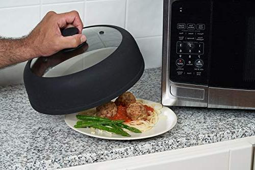 Bezrat Vented, and Glass Microwave Plate for Food Splatter with Easy Grip Handle inch Plates