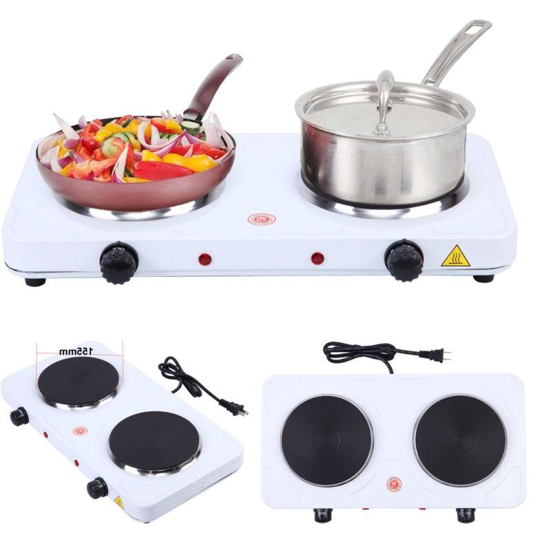 portable electric double burner hot plate heating