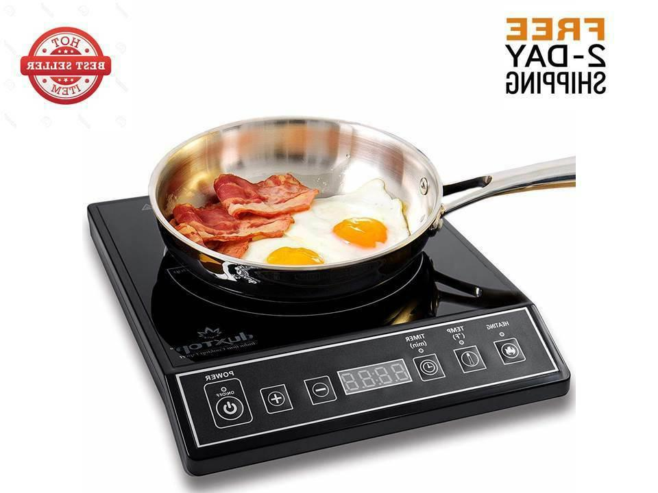 portable induction cooktop countertop burner black 1800w