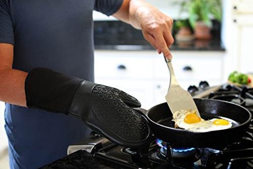 Homwe Oven Mitts and Potholders Counter Trivet   Heat Resistant Oven Mitt, Textured Grip Pot
