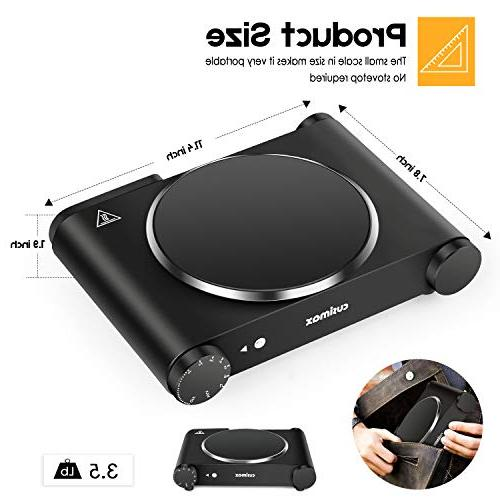 Cusimax Electric 1200W Burner Heat-up 7 Inch Single Cooktop Dormitory Home Camp, Compatible with All