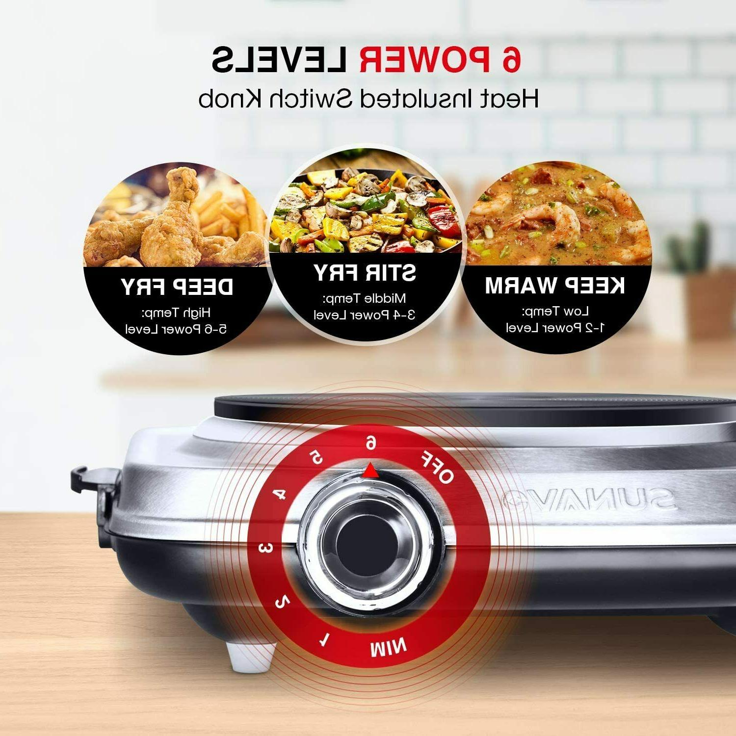 1500W Hot Cooking, Electric Burner with 6 Level