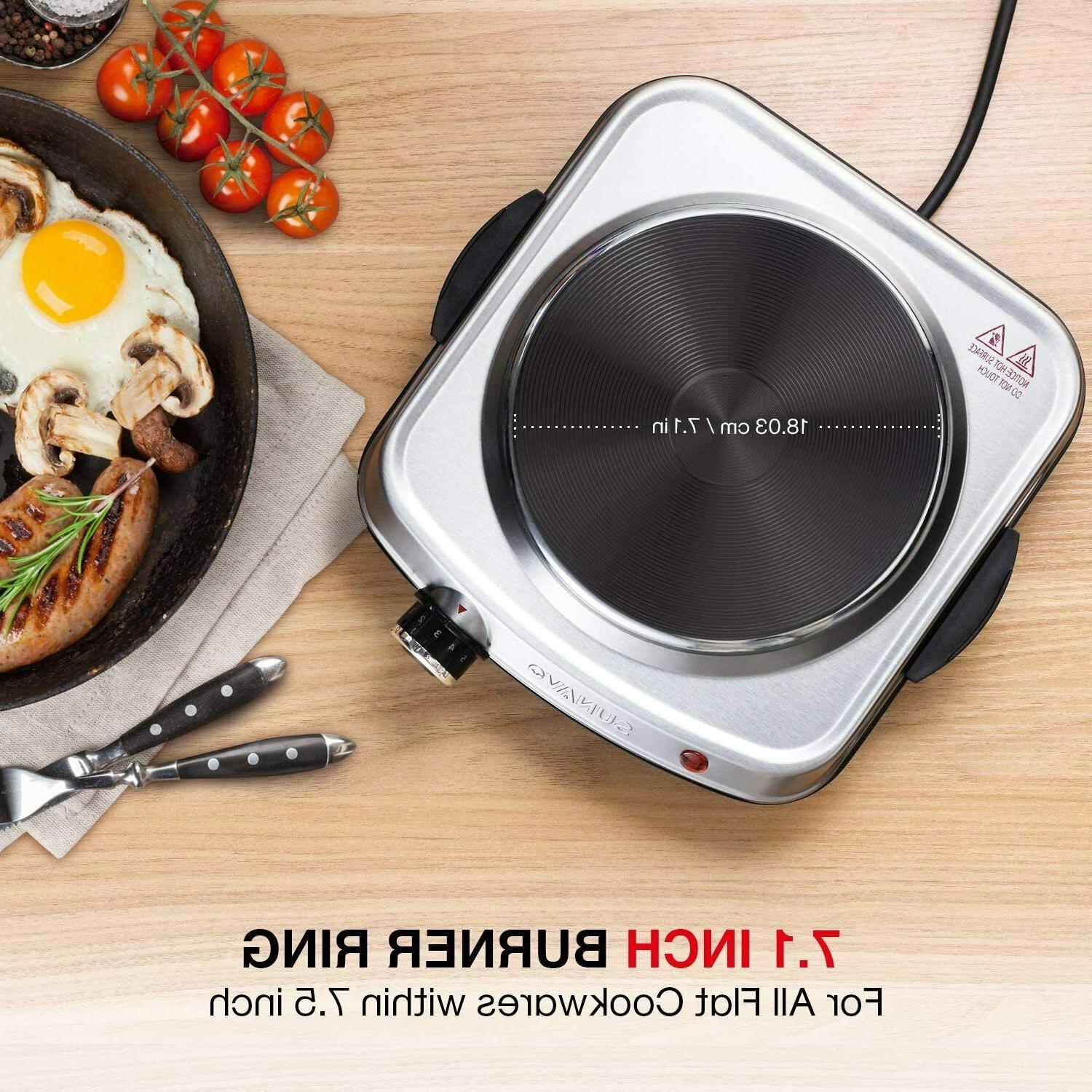 1500W Plates Cooking, Single with Handles, Power Level