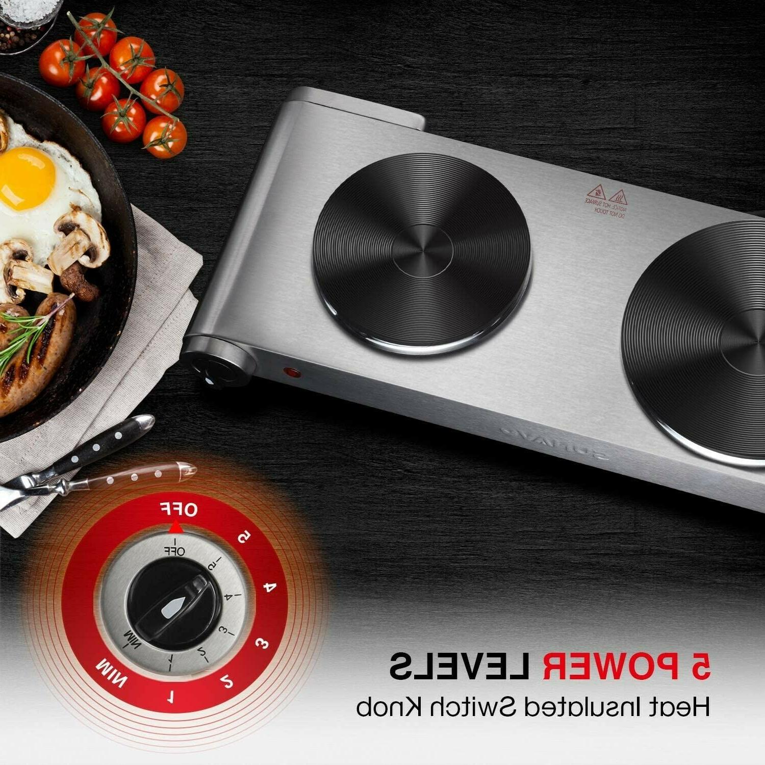 SUNAVO Hot Plates Cooking Portable Double Burner 1800W Lev