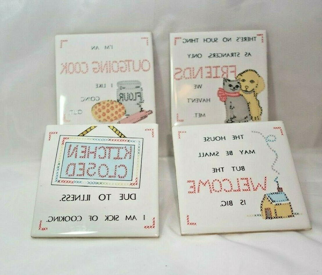 Vintage Ceramic hot plates Fun Kitchen/ Friend Quote