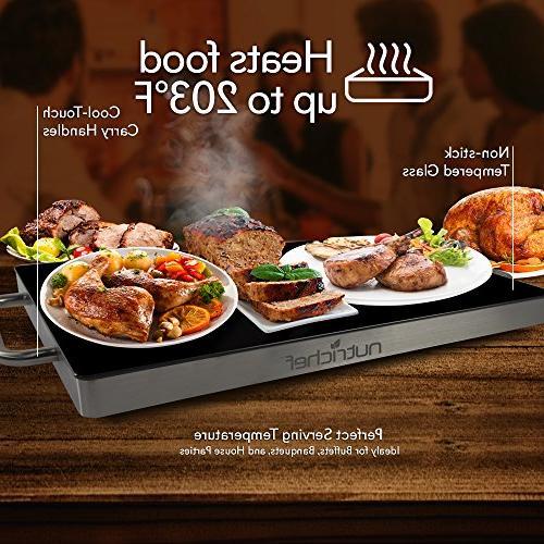 Portable Plate Warming w/Black Glass - Keep Warm Buffet Restaurant, Table Use -