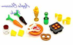 Lego Minifig KITCHEN FOOD LOT Hot Plate Pretzel Wine Bottle