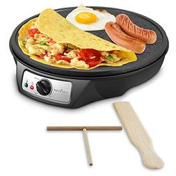 Nonstick 12-Inch Electric Crepe Maker - Aluminum Griddle Hot