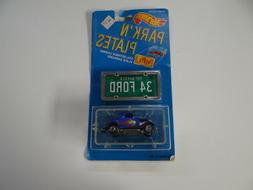 Hot Wheels Park 'N Plates 3 Window '34 Ford Coupe Blue New O