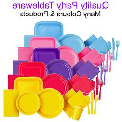 Party Tableware Disposable Paper Plates Napkins Cutlery Cups