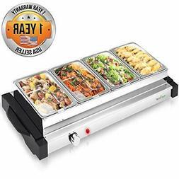 NutriChef PKBFWM32 Electric Hot Plate Food Warmer Buffet Ser