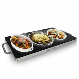Nutrichef Portable Electric Hot Plate - Stainless Steel Warm