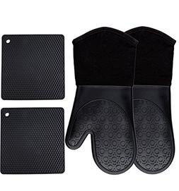 Homwe Silicone Oven Mitts and Potholders , Kitchen Counter S