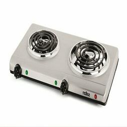 Salton THP-528 Electric Double-Coil Cooking Range, Stainless