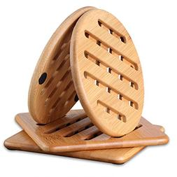 Trivets for Hot Dishes,CONISY Kitchen Natural Bamboo Trivet