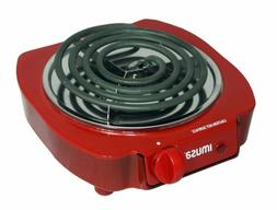 IMUSA USA GAU-80305R Electric Single Burner 1100-Watts, Red