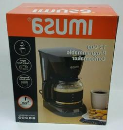 IMUSA USA GAU-18210B Programmable Coffee Maker 12-Cup, Black