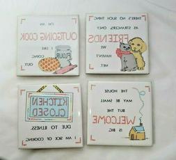 Vintage 1985 Ceramic Coasters hot plates Set 4  Fun Home/ Ki